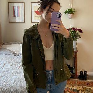 Zara dark green utility army cropped jacket